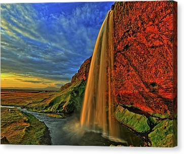 Canvas Print featuring the photograph Sunset At The Falls by Scott Mahon