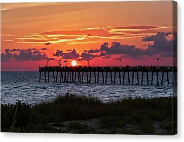 Canvas Print featuring the photograph Sunset At The Fishing Pier   -   Fishingpier121662 by Frank J Benz