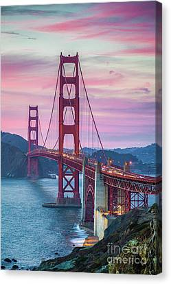 Sunset At The Golden Gate Canvas Print by JR Photography