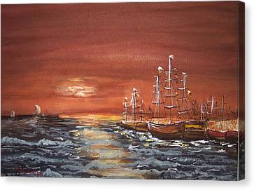 Sunset At The Harbor Canvas Print by Miroslaw  Chelchowski