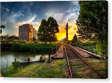 Sunset At The Imperial Sugar Factory Smoke Stacks Early Stage Landscape Canvas Print by Micah Goff