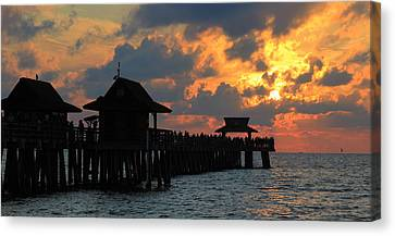 Sunset At The Naples Pier Canvas Print by Sean Allen