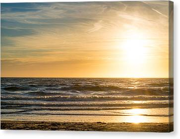 Canvas Print featuring the photograph sunset at the North Sea by Hannes Cmarits