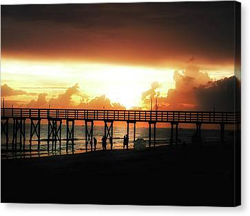 Sunset At The Pier Canvas Print by Bill Cannon