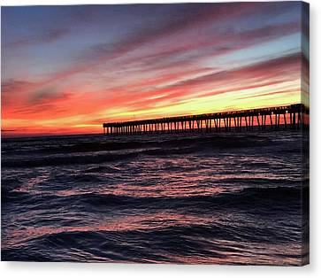 Panama City Beach Canvas Print - Sunset At The Pier by Leslie Brashear