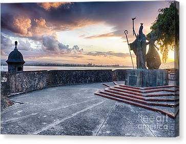 Sunset At  The Plaza Of The Religious Procession Canvas Print