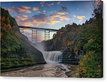 Sunset At The Upper Falls Canvas Print by Rick Berk