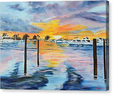 Sunset At The Yacht Club Canvas Print