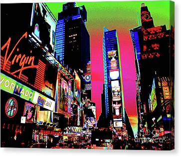 Sunset At Times Square Canvas Print