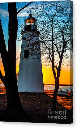 Canvas Print featuring the photograph Sunset At Turkey Point Lighthouse by Nick Zelinsky