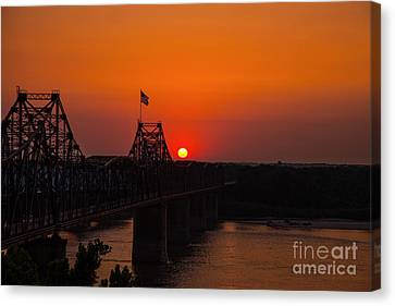 Sunset At Vicksburg Canvas Print by T Lowry Wilson