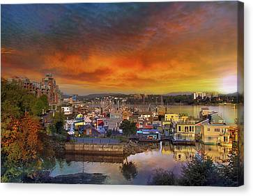 Sunset At Victoria Inner Harbor Fisherman's Wharf Canvas Print by David Gn