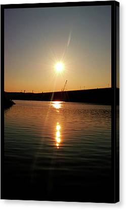 Sunset At Wolf Creek Dam Canvas Print by Amber Flowers