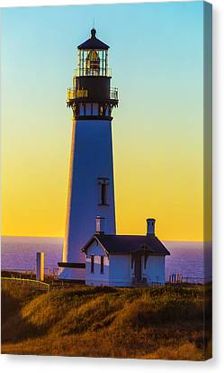Red Roof Canvas Print - Sunset At Yaquina Head Lighthouse by Garry Gay