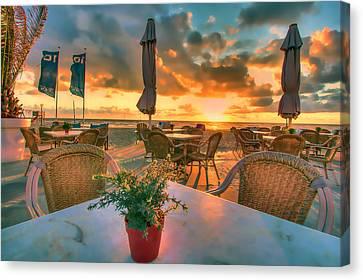 Sunset At Zandvoort Canvas Print