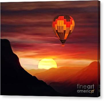 Sunset Balloon Ride Canvas Print by Zedi