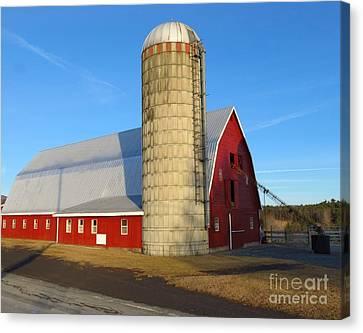 Sunset Barn With Silo Canvas Print by Donna Cavanaugh