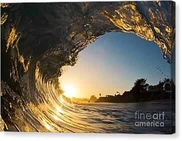 Canvas Print featuring the photograph Sunset Barrel Wave On Beach by Paul Topp