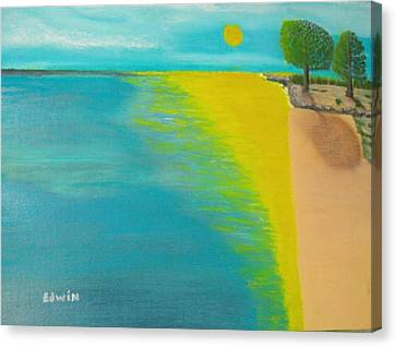 Sunset Beach Canvas Print by Edwin Long