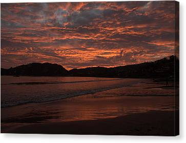 Canvas Print featuring the photograph Sunset Beach by Jim Walls PhotoArtist
