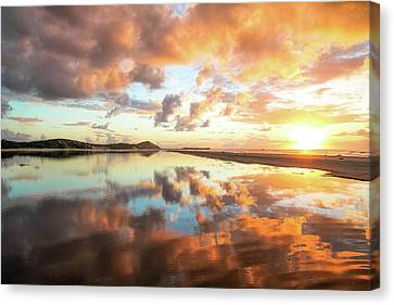 Sunset Beach Reflections Canvas Print