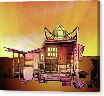 Tropical Sunset Canvas Print - Sunset Beach Shack  by J Olson LaF
