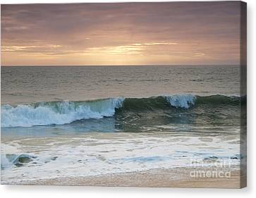 Sunset Beach Waves Canvas Print by Angelo DeVal