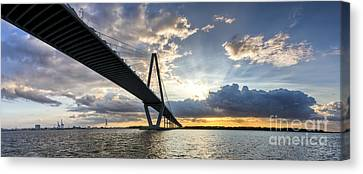 Sunset Behind Arthur Ravenel Jr Bridge Charleston South Carolina Canvas Print by Dustin K Ryan