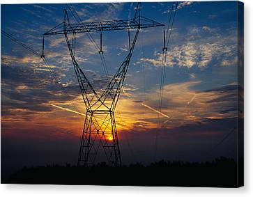 Sunset Behind High Tension Power Lines Canvas Print by Panoramic Images