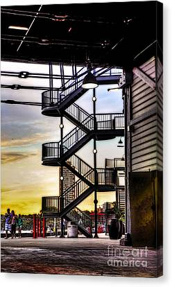 Sunset Behind The Stairs Canvas Print by Kaye Menner