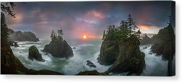 Canvas Print featuring the photograph Sunset Between Sea Stacks With Trees Of Oregon Coast by William Lee