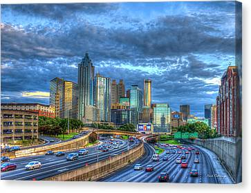 Canvas Print featuring the photograph Sunset Blue Glass Reflections Atlanta Downtown Cityscape Art by Reid Callaway
