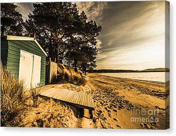 Sunset Boat Shed Canvas Print by Jorgo Photography - Wall Art Gallery
