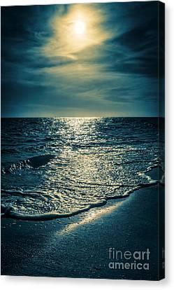 Sunset Bowman Beach Sanibel Florida Canvas Print by Edward Fielding