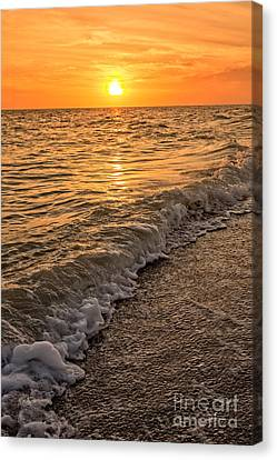 Sunset Bowman Beach Sanibel Island Florida  Canvas Print by Edward Fielding