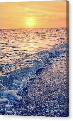 Canvas Print featuring the photograph Sunset Bowman Beach Sanibel Island Florida Vintage by Edward Fielding