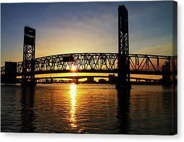 Canvas Print featuring the photograph Sunset Bridge 1 by Arthur Dodd