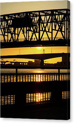 Canvas Print featuring the photograph Sunset Bridge 2 by Arthur Dodd