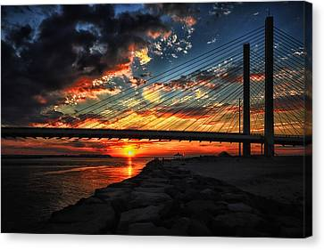 Sunset Bridge At Indian River Inlet Canvas Print by Bill Swartwout