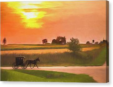 Canvas Print featuring the photograph Sunset Buggy Ride by Joel Witmeyer