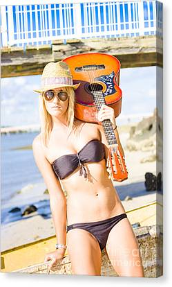 Sunset Busker Holding Guitar In Tropical Paradise Canvas Print by Jorgo Photography - Wall Art Gallery