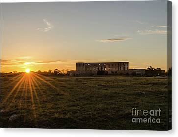 Canvas Print featuring the photograph Sunset By Old Castle Ruin by Kennerth and Birgitta Kullman