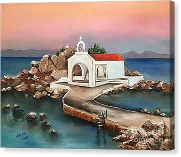 Pallet Knife Canvas Print - Sunrise By Saint Isidoros Church by Viktoriya Sirris