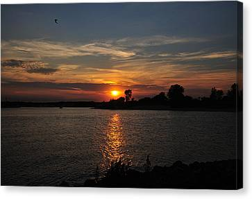 Canvas Print featuring the photograph Sunset By The Inlet by Angel Cher