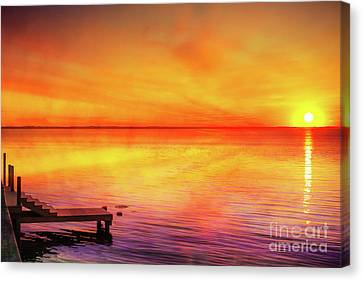 Canvas Print featuring the digital art Sunset By The Shore by Randy Steele