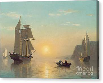 Setting Canvas Print - Sunset Calm In The Bay Of Fundy by William Bradford