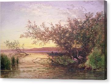 Sunset, Camargue Canvas Print by Felix Ziem
