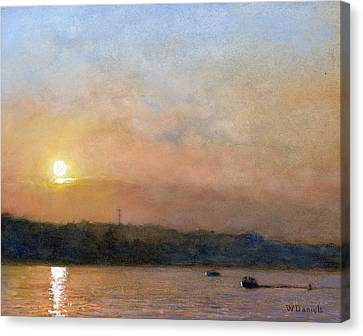 Canvas Print featuring the painting Sunset- Cazenovia Lake by Wayne Daniels