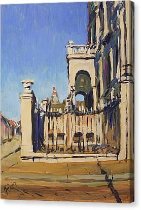 Sunset Cityhall Maastricht Entrance Canvas Print by Nop Briex