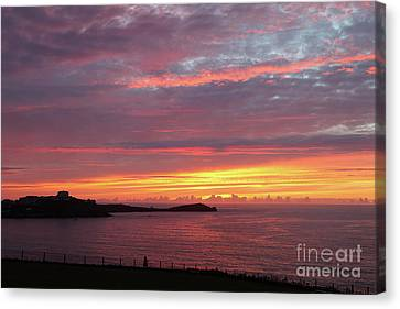 Canvas Print featuring the photograph Sunset Clouds In Newquay Cornwall by Nicholas Burningham